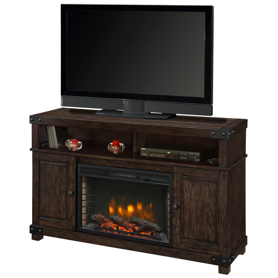 Muskoka 53-in W 4600-BTU Rustic Brown Wood Veneer Fan-Forced Electric Fireplace with Thermostat and Remote