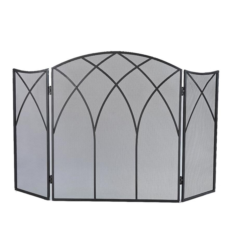 46 5 in black steel 3 panel arched fireplace screen at