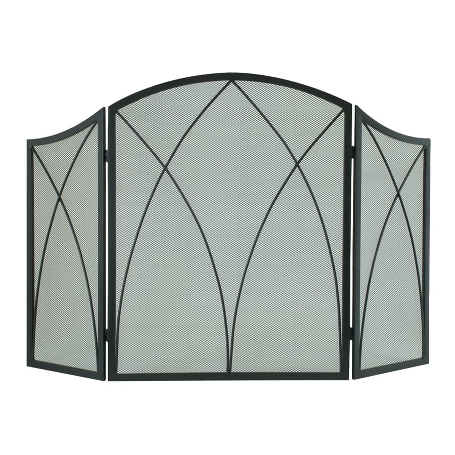Pleasant Hearth 48-in Black Steel 3-Panel Arched Fireplace Screen