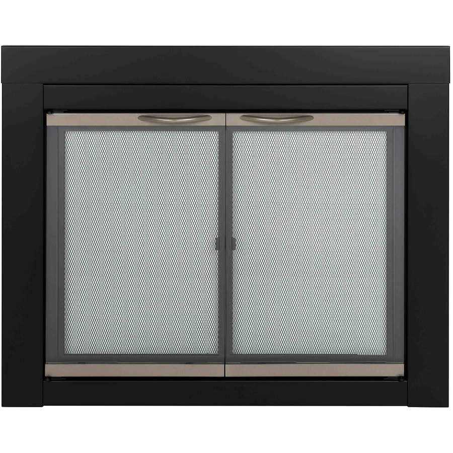 Pleasant Hearth Alsip Black with Sunlight Nickel Trim Medium Cabinet-Style Fireplace Doors with Clear Tempered Glass