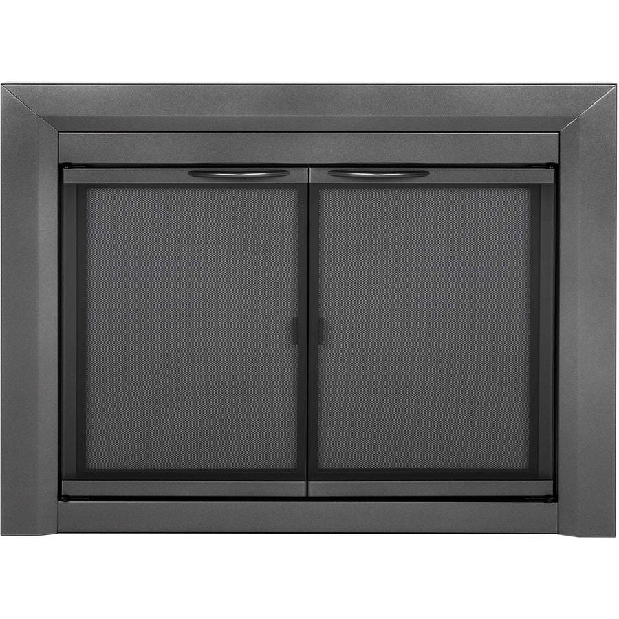 Pleasant Hearth Craton Gunmetal Large Cabinet-Style Fireplace Doors with Smoke Tempered Glass