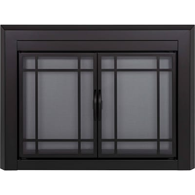 Pleasant Hearth 37 1 2 Black Glass Fireplace Door At Lowes Com