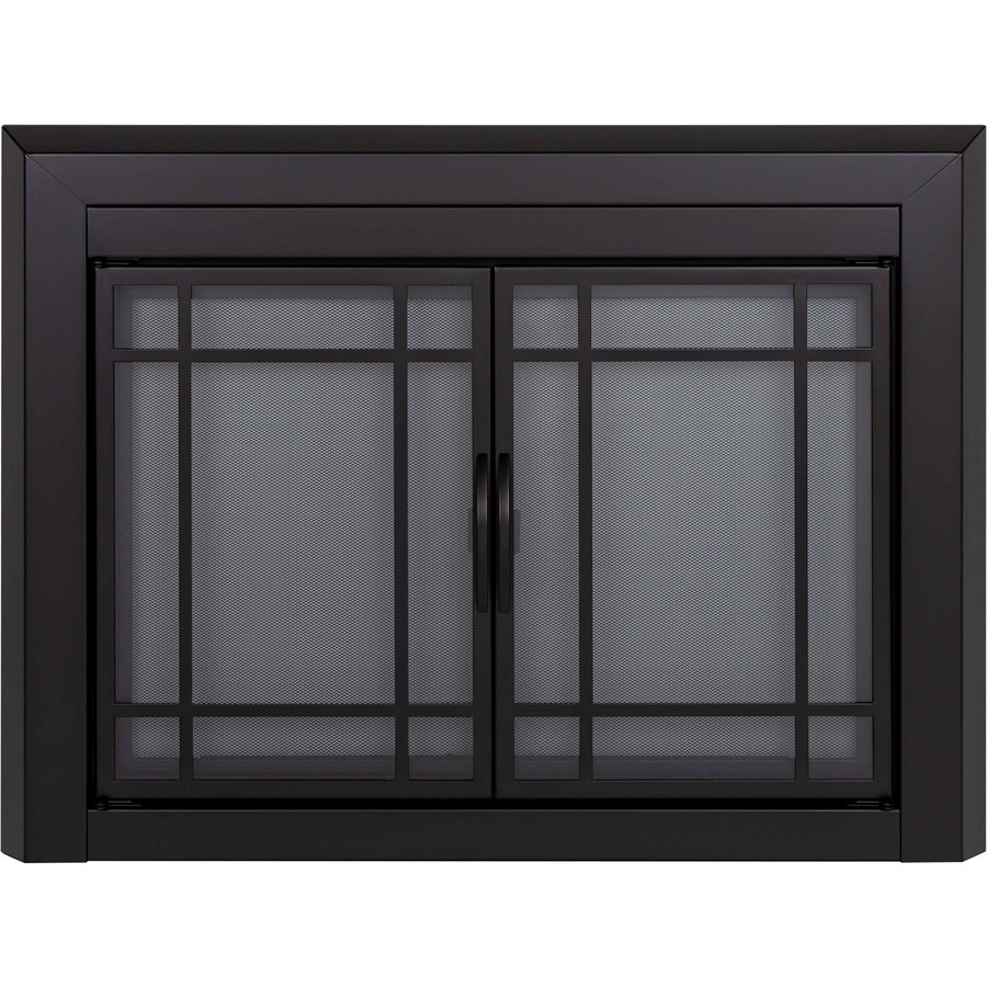 cabinet style fireplace doors with smoke tempered glass at