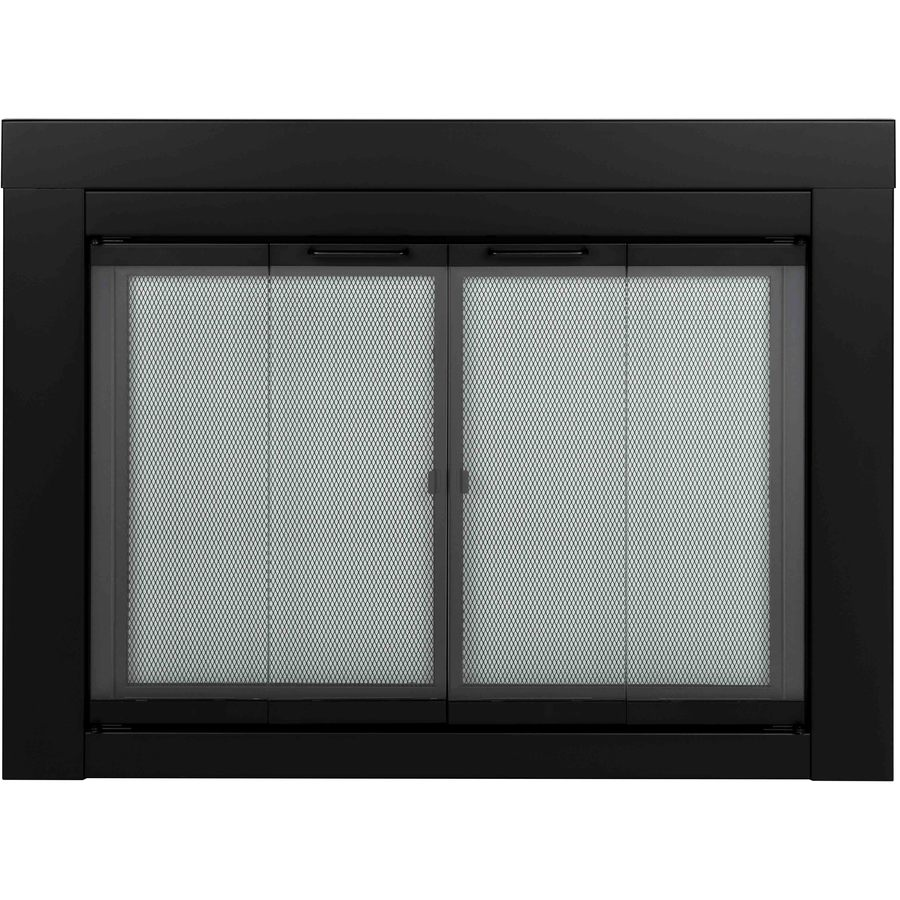 large bi fold fireplace doors with clear tempered glass at