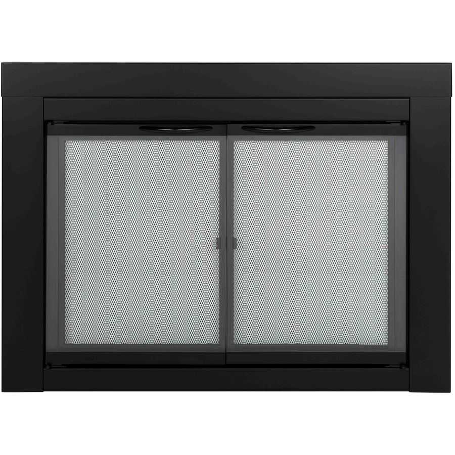 Pleasant Hearth Alpine Black Small Cabinet Style Fireplace Doors With Clear Tempered Gl