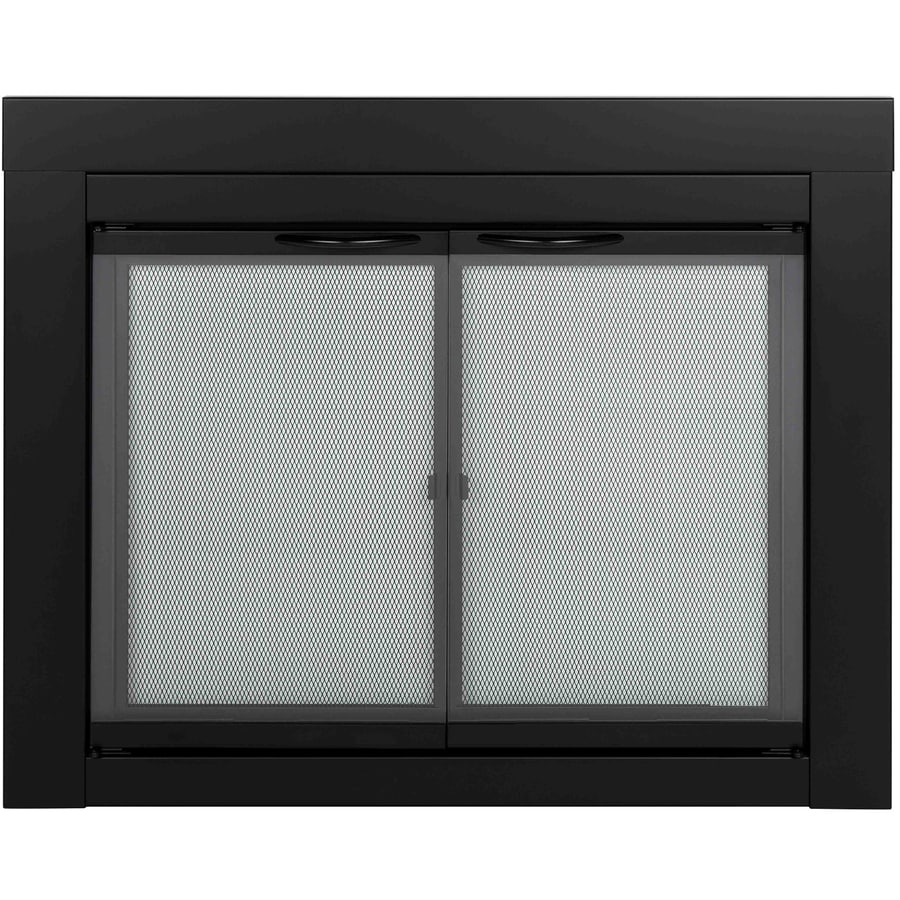 Pleasant Hearth Alpine Black Medium Cabinet-Style Fireplace Doors with Clear Tempered Glass