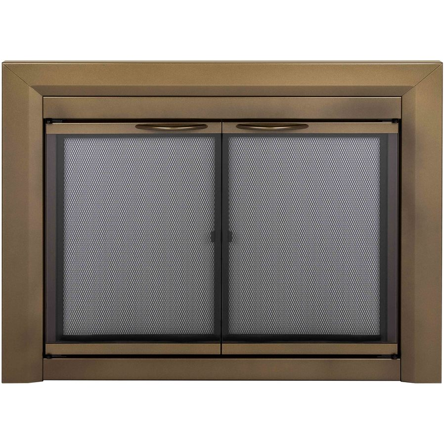 Pleasant Hearth Cahill Antique Brass Small Cabinet-Style Fireplace Doors with Smoke Tempered Glass