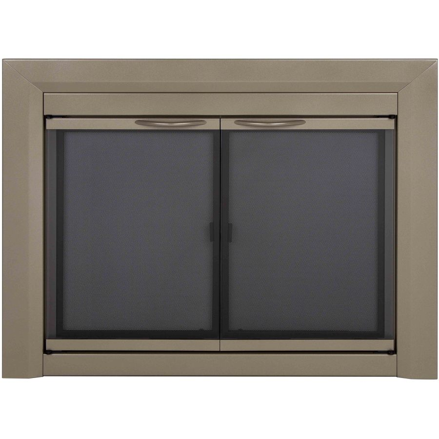 nickel small cabinet style fireplace doors with smoke tempered glass