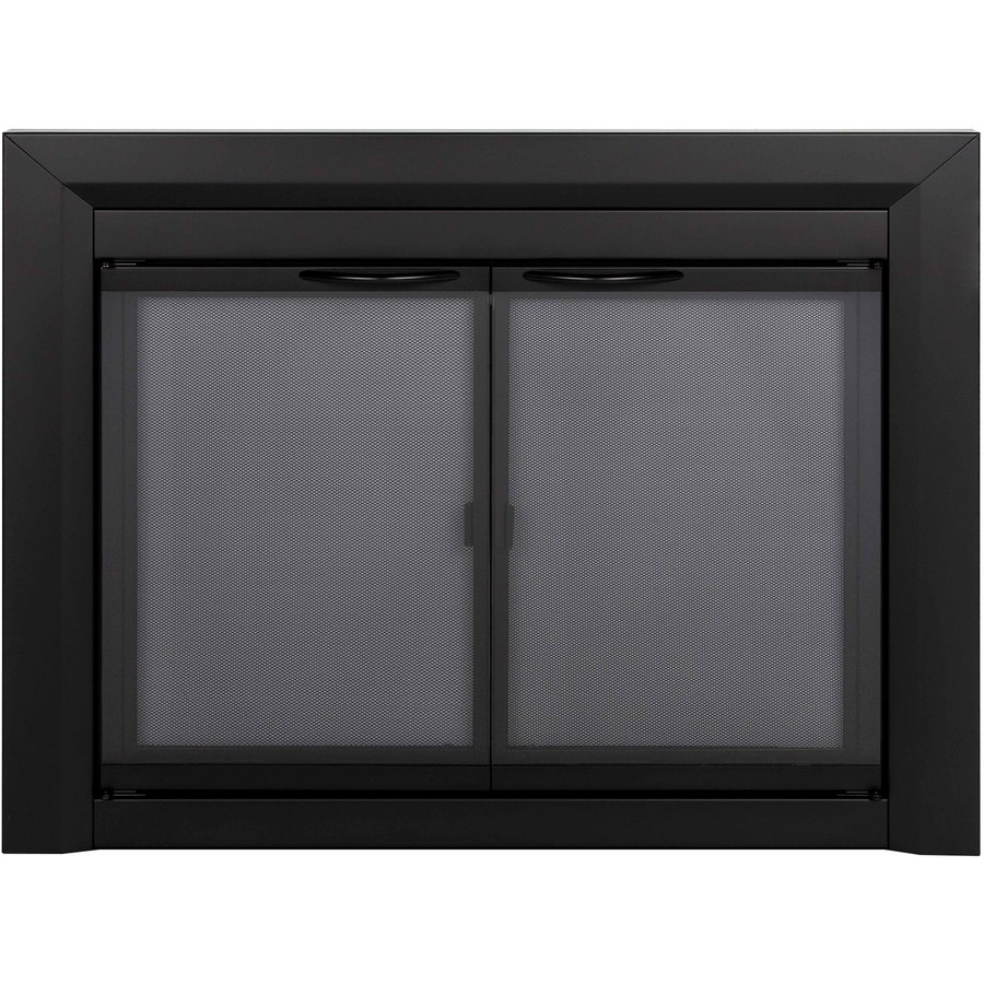 black small cabinet style fireplace doors with smoke tempered glass