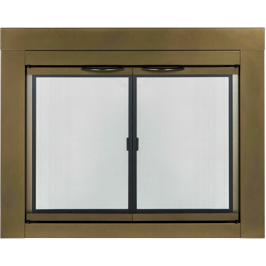 Pleasant Hearth Ashlynn Antique Brass Medium Cabinet-Style Fireplace Doors with Clear Tempered Glass