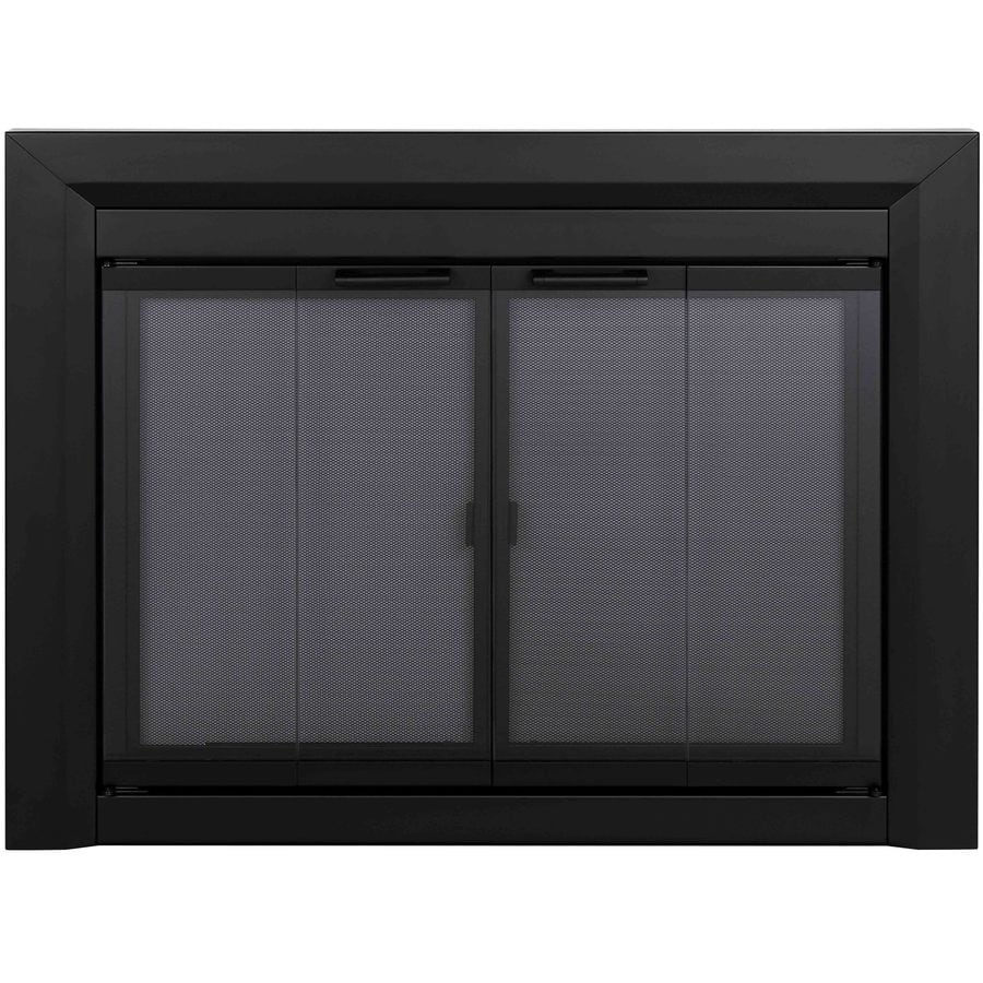 Pleasant Hearth Clairmont Black Small Bi Fold Fireplace Doors With Smoke  Tempered Glass