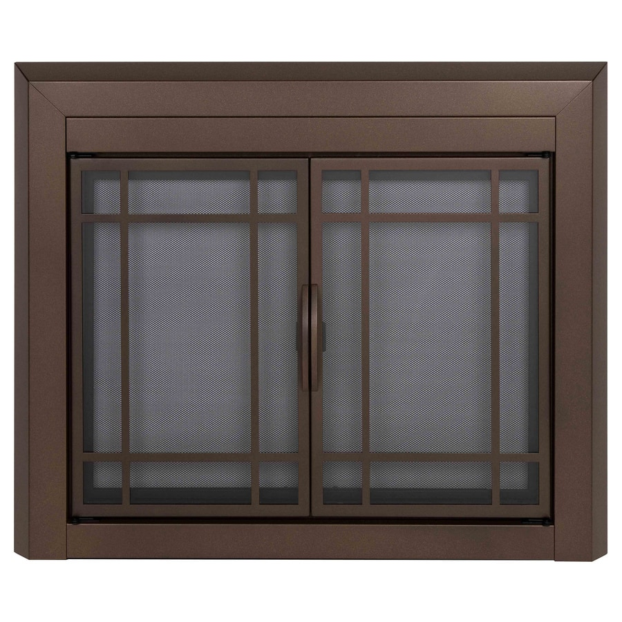 Pleasant Hearth Enfield Burnished Bronze Medium Cabinet-Style Fireplace Doors with Smoke Tempered Glass