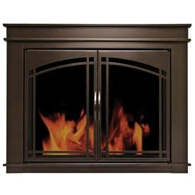 Pleasant Hearth Fenwick Oil Rubbed Bronze Large Cabinet Style Fireplace Doors With Smoke Tempered