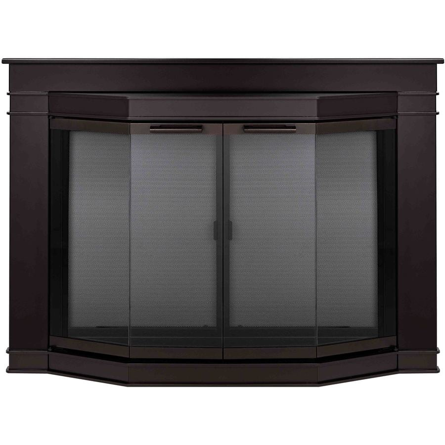 Shop Pleasant Hearth Glacier Bay Oil Rubbed Bronze Medium Bi Fold Bay Fireplace Doors With Smoke