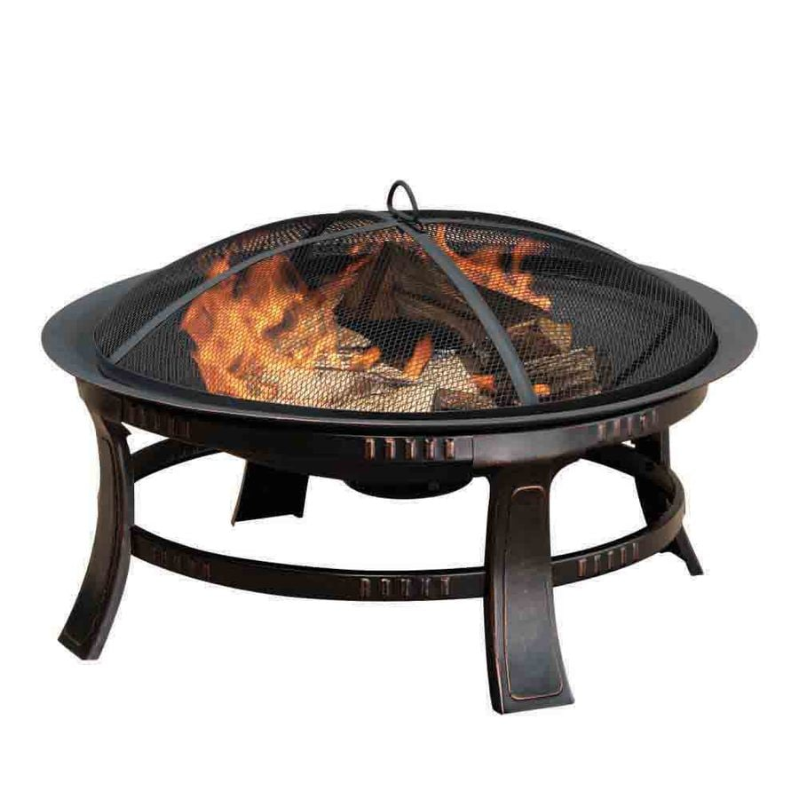 Shop pleasant hearth 30 in w rubbed bronze steel wood burning fire pit at - Fire pits for your home ...