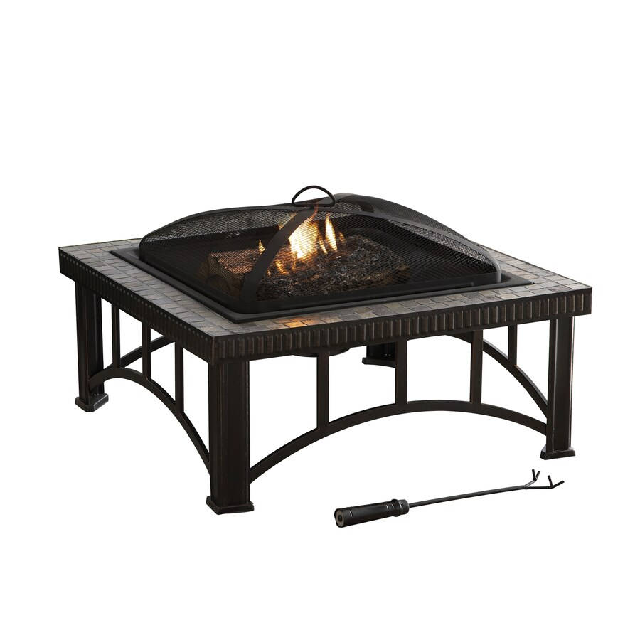 Shop Garden Treasures 30 In W Rubbed Bronze Steel Wood Burning Fire Pit At