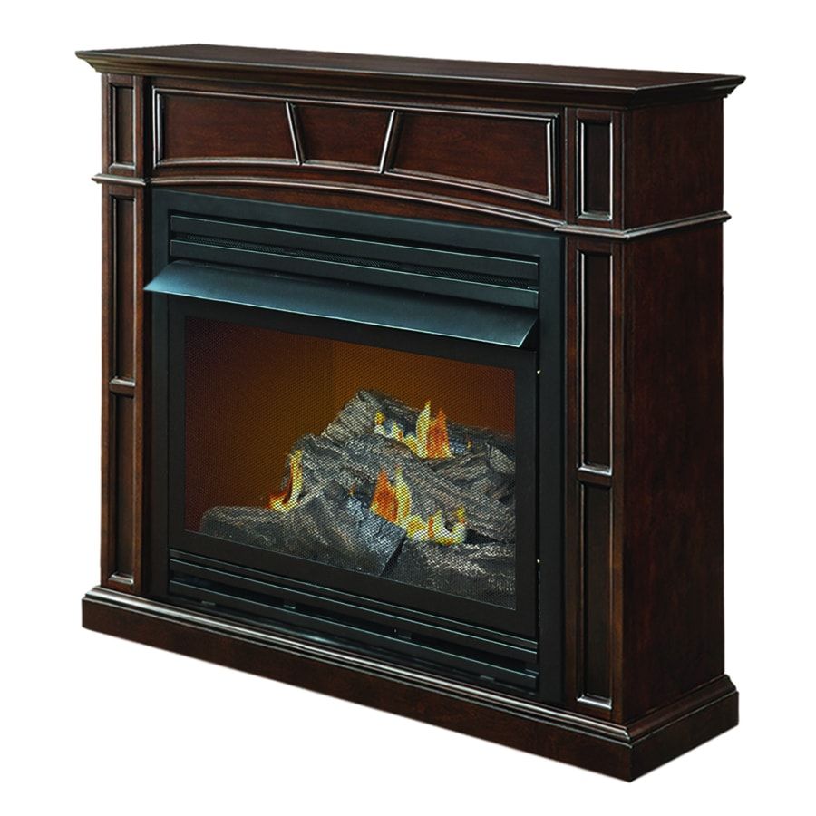 Shop pleasant hearth 45.88-in dual-burner vent-free tobacco flat wall natural gas fireplace with thermostat and blower in the gas fireplaces section of Lowes.com