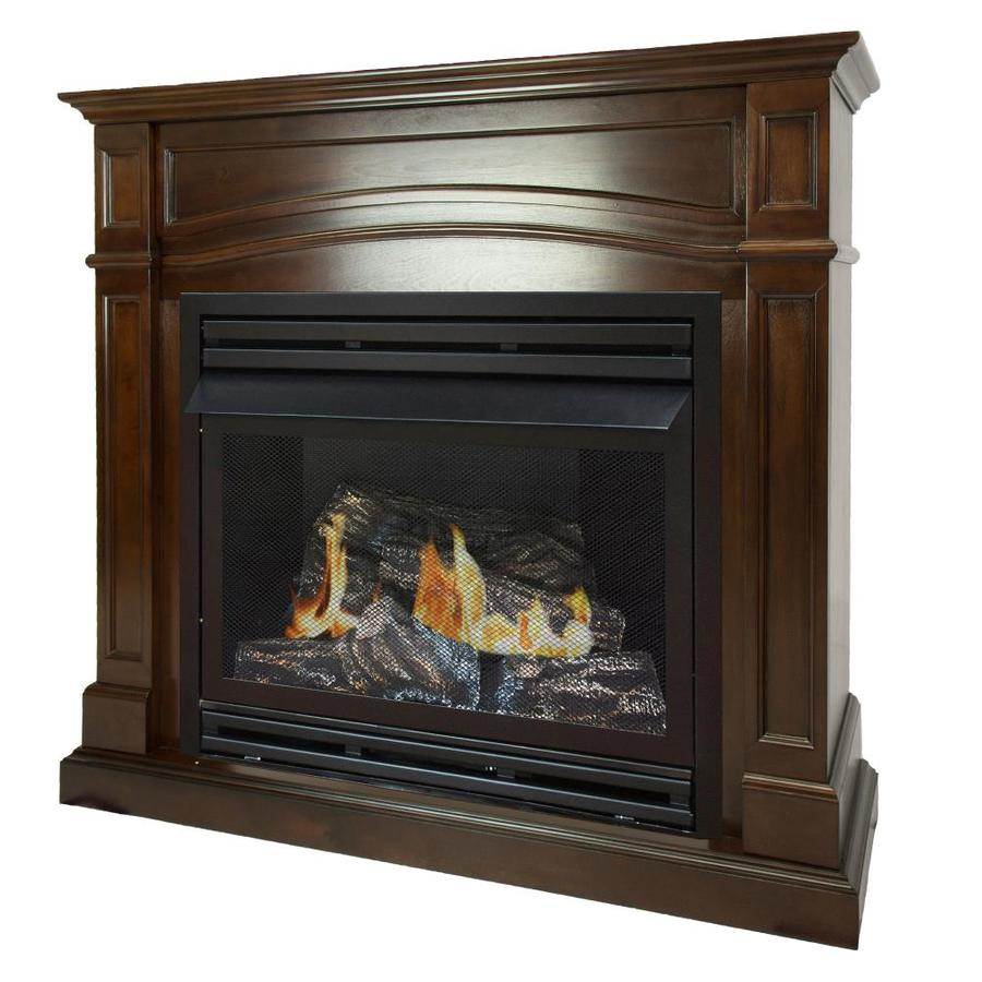 Pleasant Hearth 45 88 In Dual Burner Cherry Gas Fireplace At Lowes Com