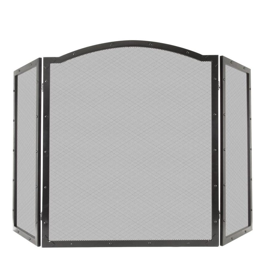50 in antique black steel 3 panel arched fireplace screen at