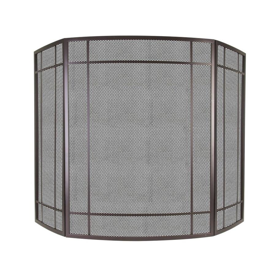 Pleasant Hearth 41-in Wenge Steel 3-Panel Craftsman Fireplace Screen