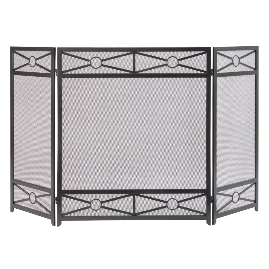 54 in vintage iron steel 3 panel diamond fireplace screen at