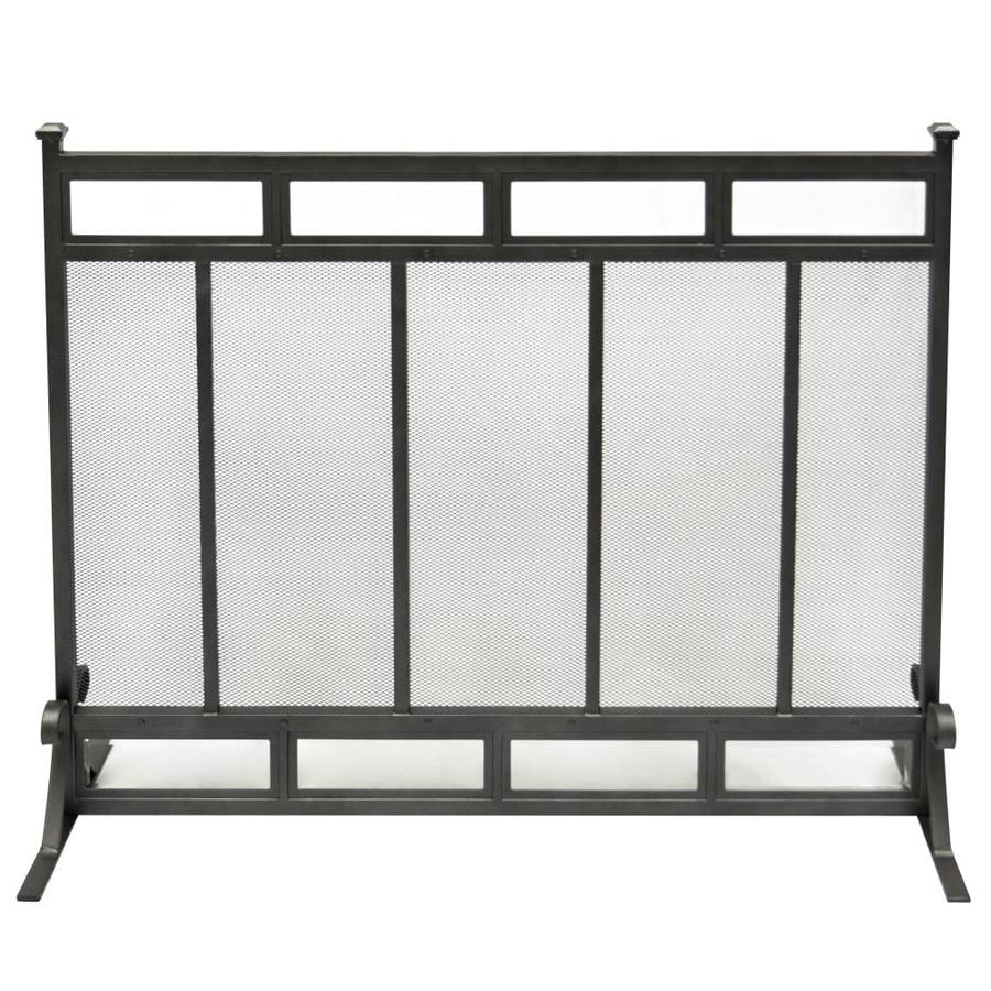 Pleasant Hearth 39-in Gunmetal Steel 1-Panel Craftsman Fireplace Screen