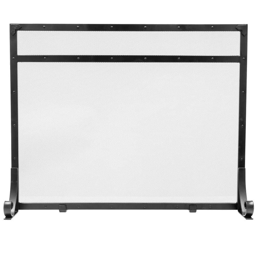 hearth 39 in black steel 1 panel flat fireplace screen at