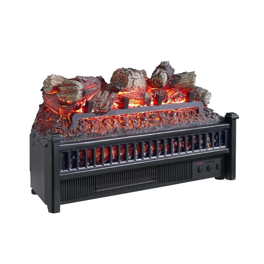 Pleasant Hearth 23-in W 4,600-BTU Black Electric Fireplace Logs with Heater and Thermostat and Remote Control