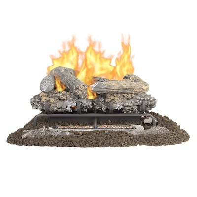 24 In 33000 Btu Dual Burner Vent Free Gas Fireplace Logs With Thermostat And Remote