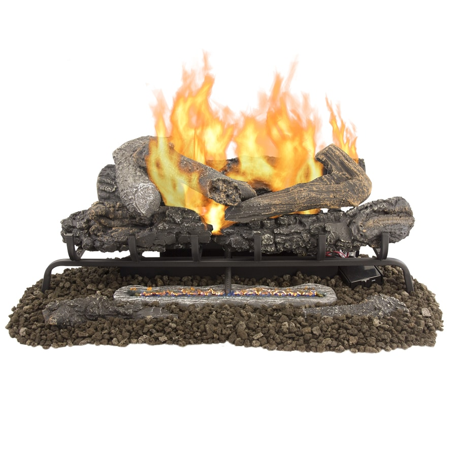 Pleasant Hearth 30-in 33,000-BTU Dual Vent-Free Gas Fireplace Logs with Thermostat and Remote Control