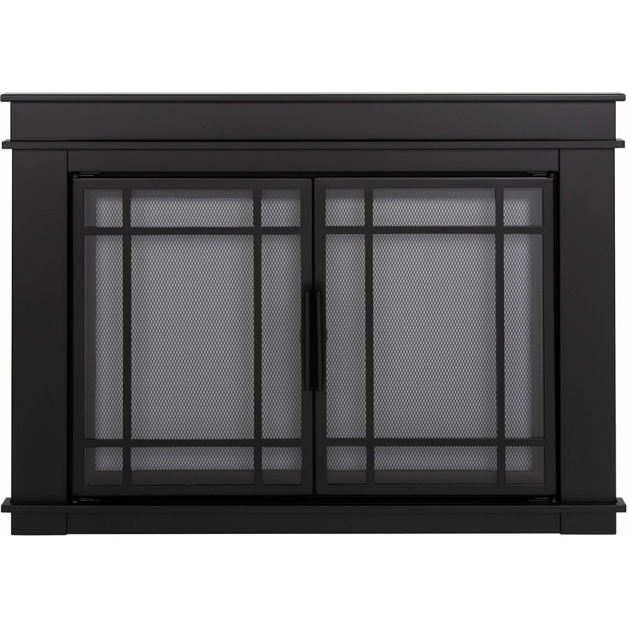 Pleasant Hearth Midnight Black Small Cabinet Style Fireplace Doors With  Smoke Tempered Glass