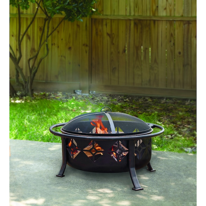 Pleasant Hearth 36 In W Rubbed Bronze Steel Wood Burning