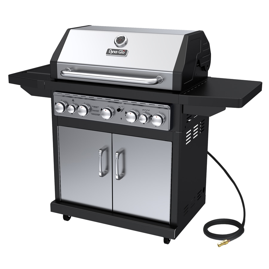 Shop Dyna-Glo Black and Stainless Steel 5-Burner (79,000-BTU) Natural Gas Grill with Side and ...