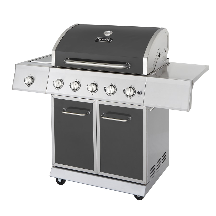 Dyna-Glo Gunmetal Gray and Stainless Steel 5-Burner (62,000-BTU) Liquid Propane Gas Grill with Side Burner