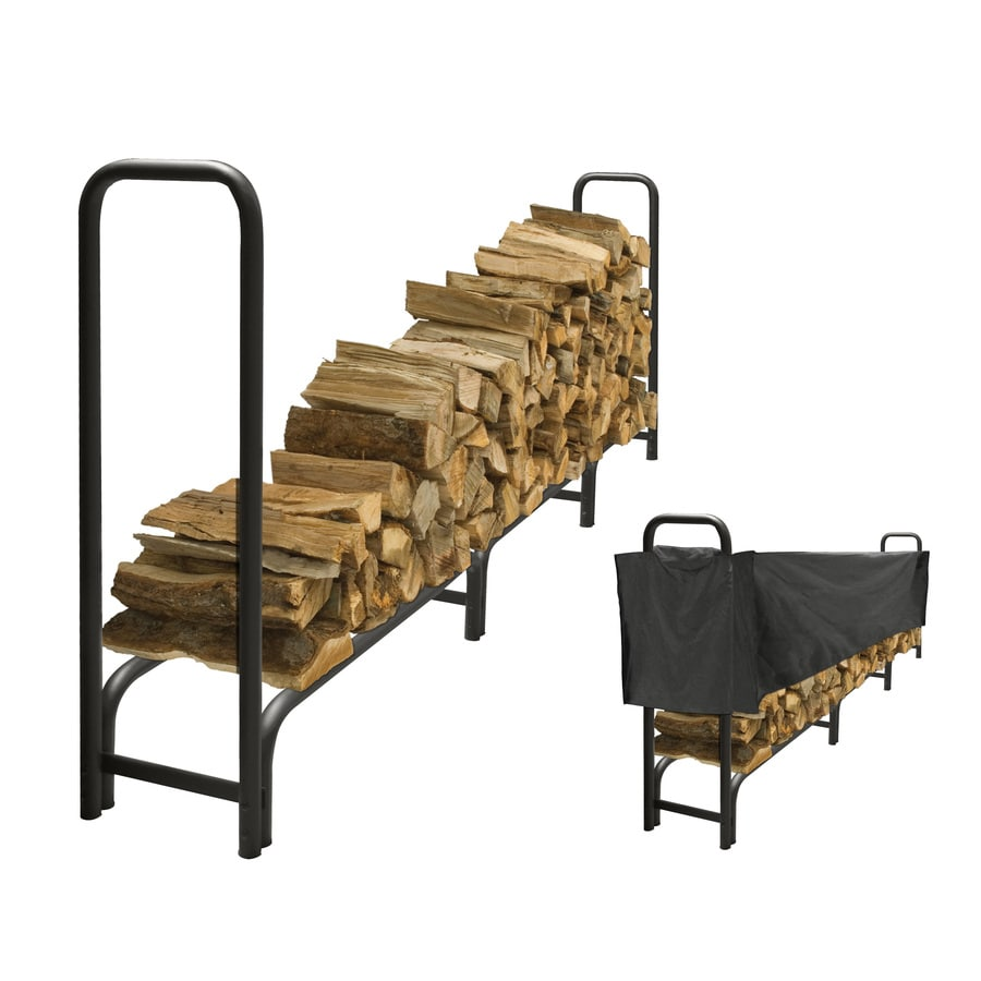 Pleasant Hearth 48-in x 14-in x 11-ft 9-in Steel Heavy Duty Log Rack with Half Cover