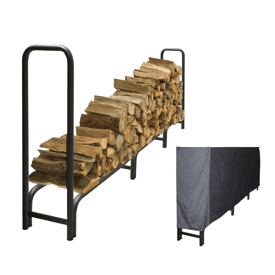 Pleasant Hearth 48-in x 14-in x 11-ft 9-in Steel Heavy Duty Log Rack with Full Cover