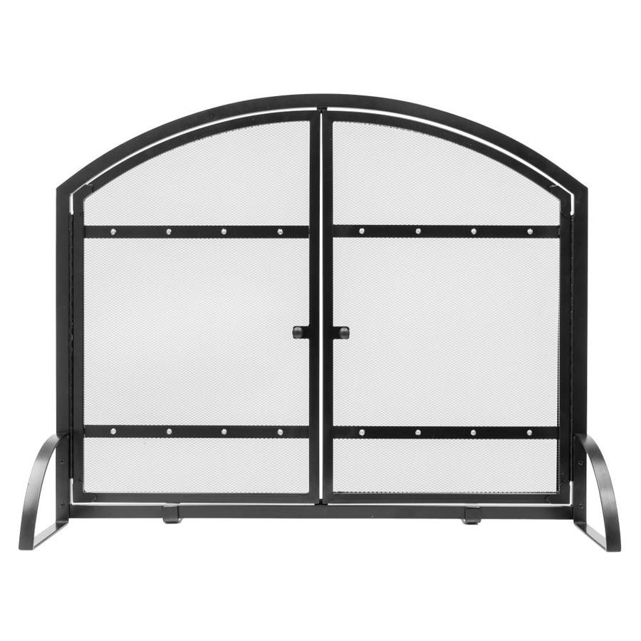 shop pleasant hearth 39 in antique black steel 2 panel arched twin