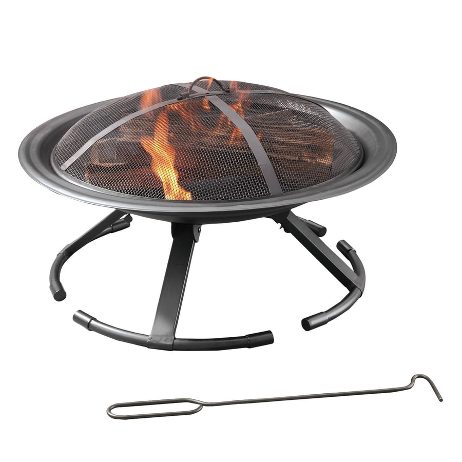 Pleasant Hearth 26-in W Black Steel Wood-Burning Fire Pit