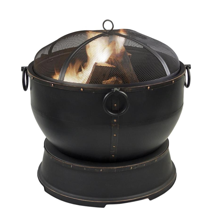 Pleasant Hearth 28.35-in W Rubbed Bronze Steel Wood-Burning Fire Pit