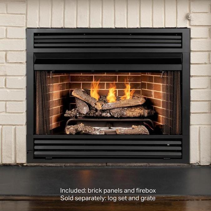 Pleasant Hearth 42 19 In W Black Vent Free Gas Fireplace Firebox