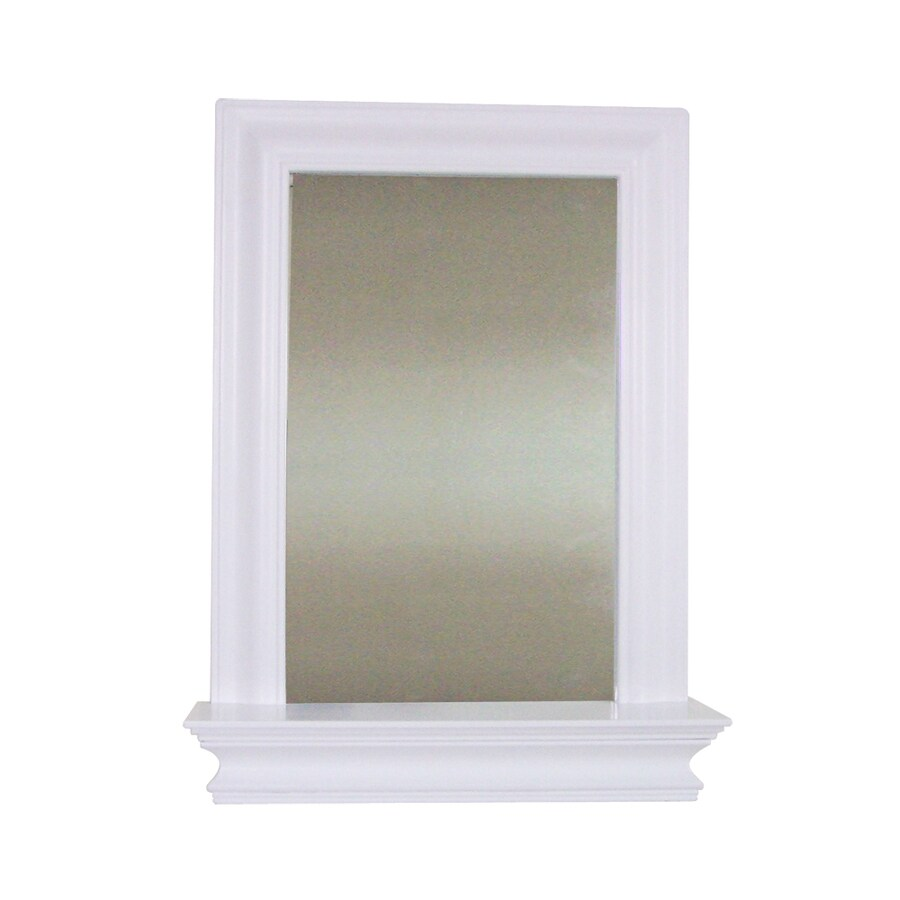 Elegant Home Fashions 24-in H x 18-in W Ford White Rectangular Bathroom Mirror