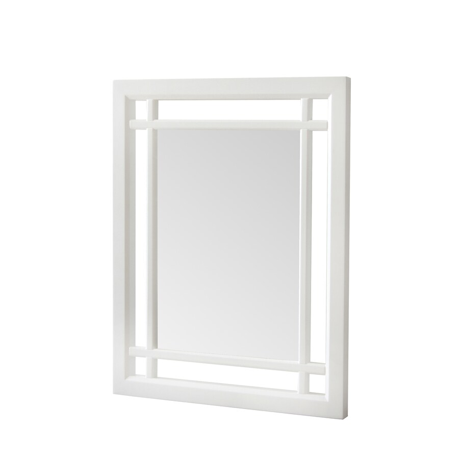 Elegant Home Fashions 24-in H x 20-in W Nadia White Rectangular Bathroom Mirror