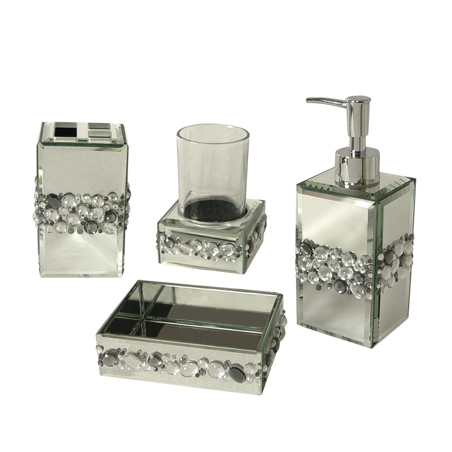 Shop elegant home fashions bling 4 piece bathroom for Blue and silver bathroom sets