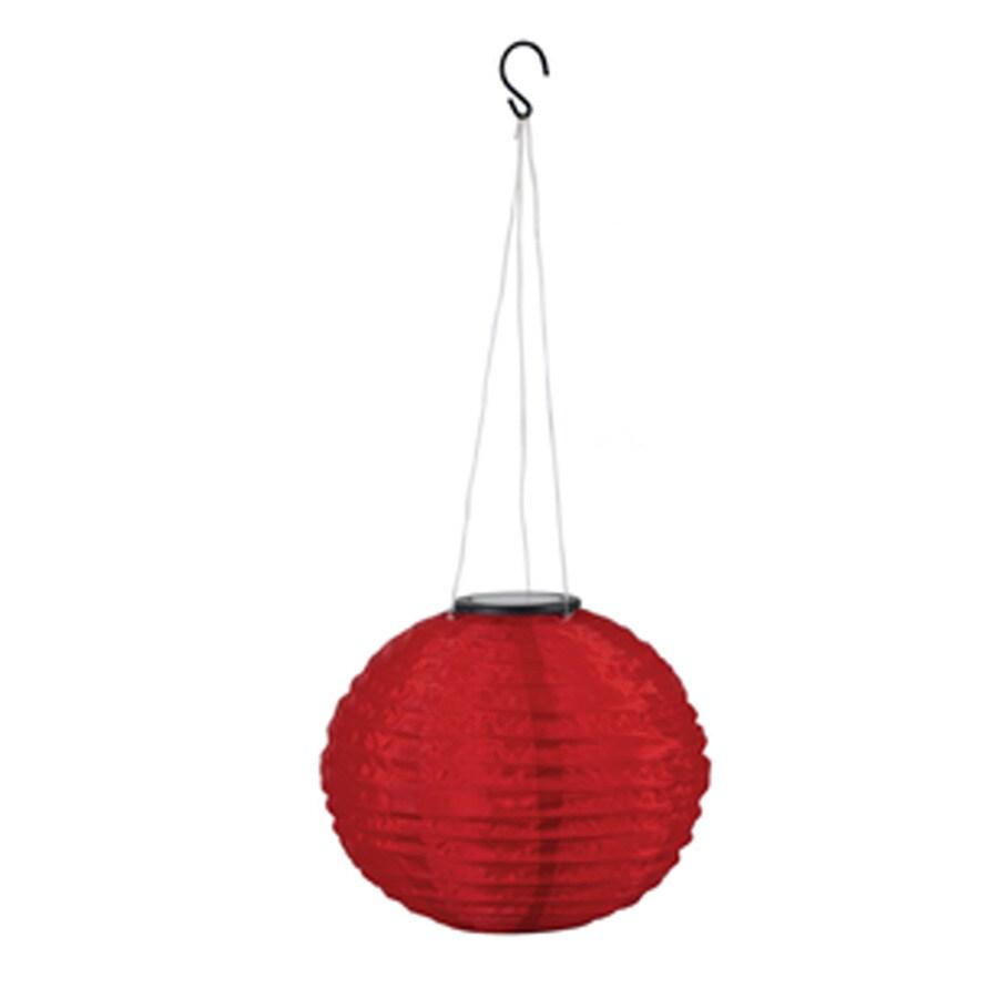 EZSolar 10-in x 21-in Red Fabric Solar Outdoor Decorative Lantern