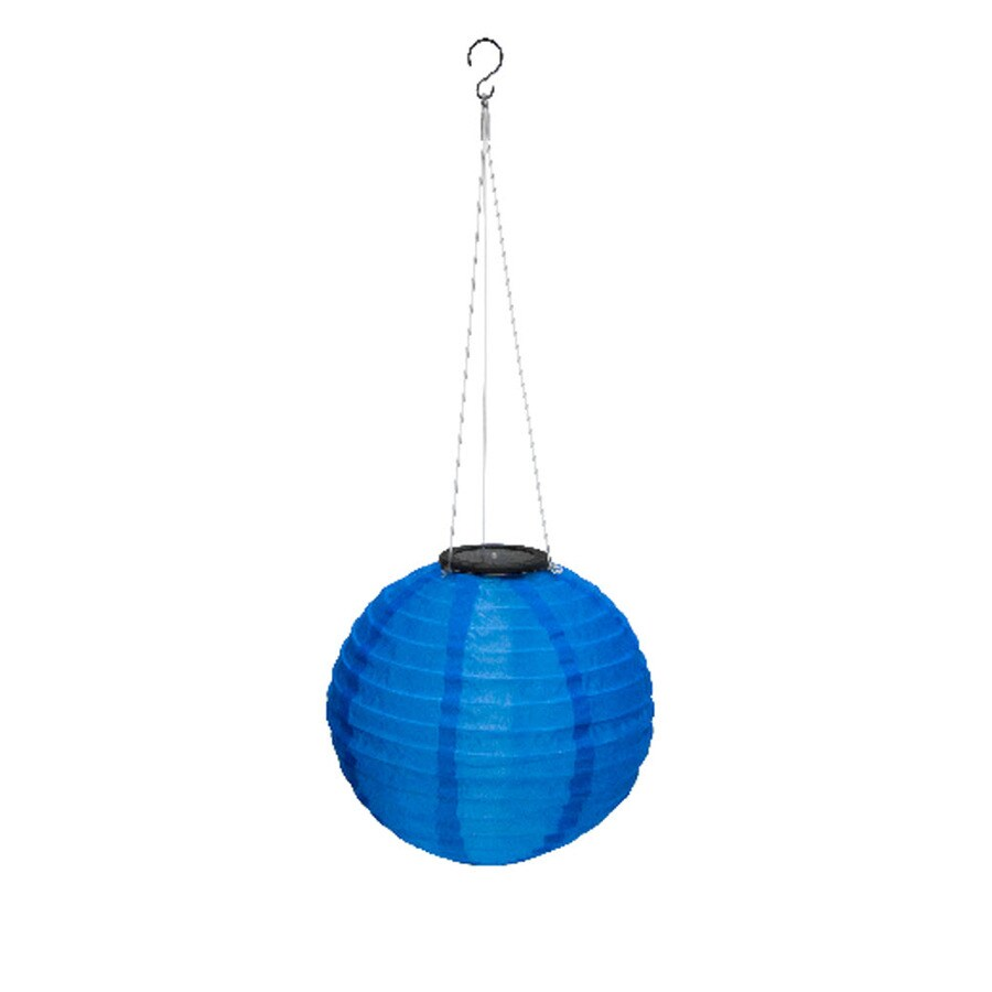 EZSolar 10-in x 21-in Blue Fabric Solar Outdoor Decorative Lantern