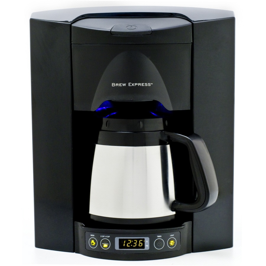 BREW EXPRESS Black/Satin Chrome 4-Cup Programmable Coffeemaker