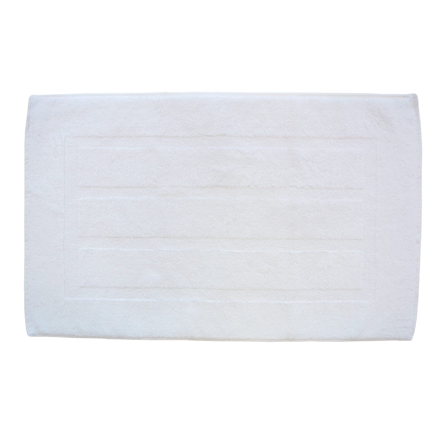 Plush Pile 32-in x 20-in White Cotton Bath Rug