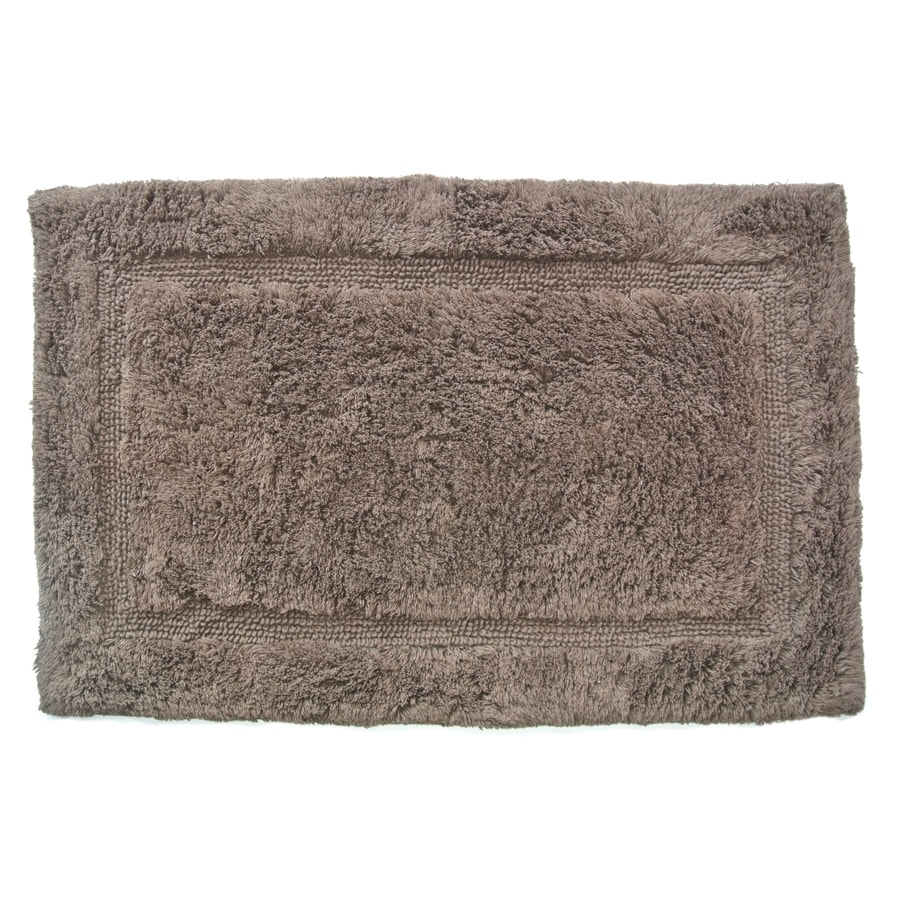 Luxury 34-in x 21-in Chocolate Cotton Bath Rug