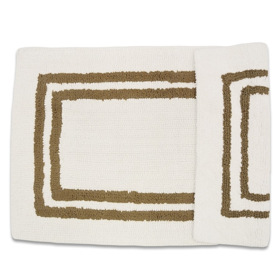 Resort 34-in x 21-in White/Linen Cotton Bath Rug