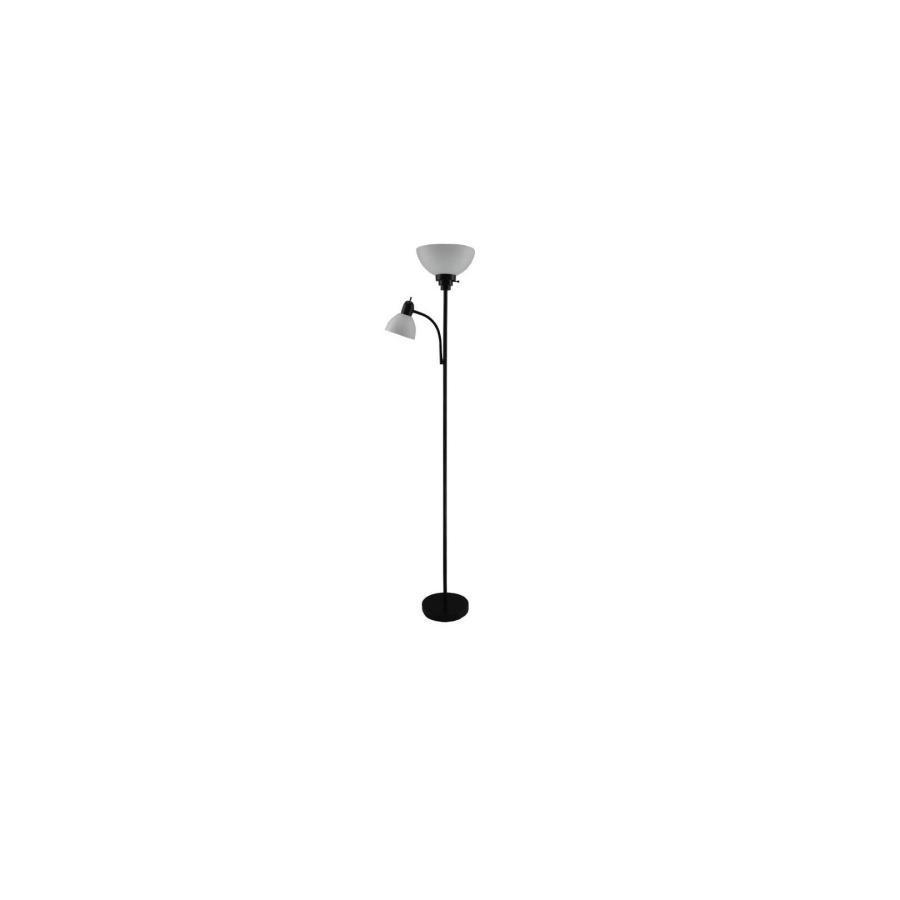 Style Selections 71-in Black Casual/Transitional Torchiere with Side-Light Indoor Floor Lamp with Plastic Shade